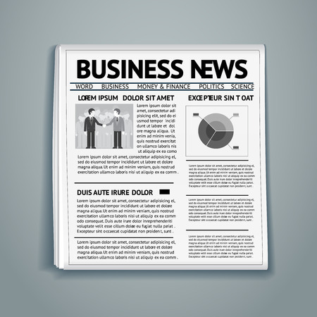 topical: newspaper with business news, businessmen and financial chart