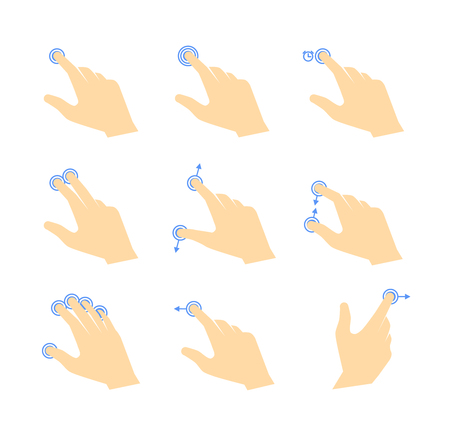 multitouch: Simple touch pad gestures icons. Hand with fingers, touch points and arrows Illustration