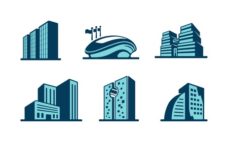 3d building icons set with six different modern skyscrapers  high-rise buildings and a sports stadium isolated on white