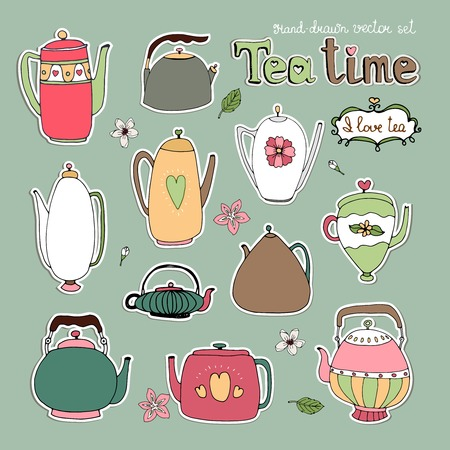 teatime: Selection of different hand drawn vector teapots and kettles in retro and modern style with white outlines on a grey background
