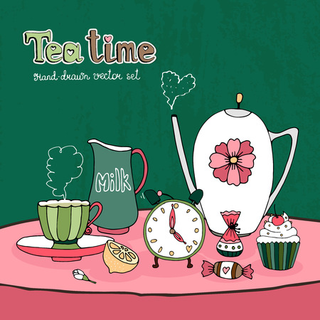 teatime: Teatime Party Card or Invitation design  Illustration