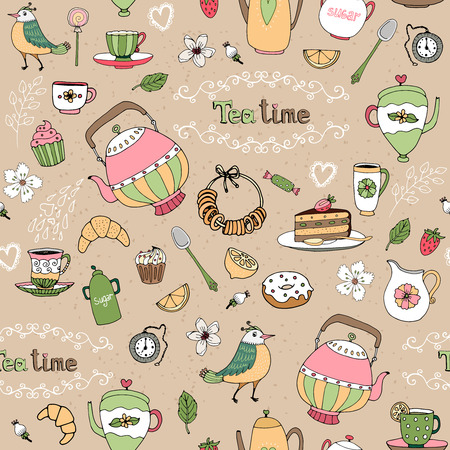 teatime: Hand drawn afternoon tea seamless background  Illustration