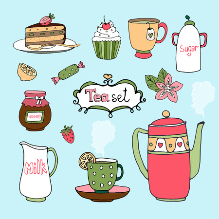 teatime: Hand-drawn tea set and cake icons  Illustration