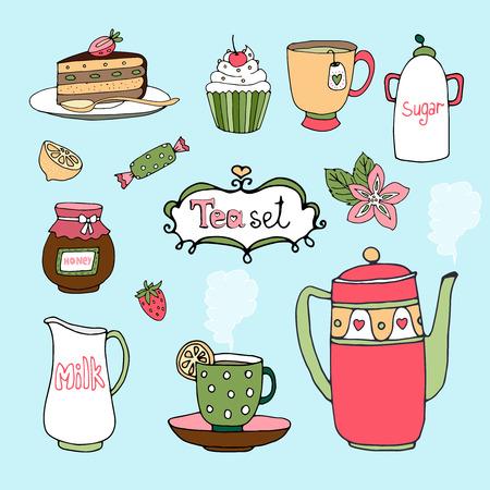 Hand-drawn tea set and cake icons  Vector