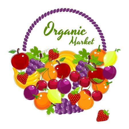 farmers market: Organic Market colorful poster design  Illustration
