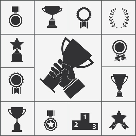 Set of black silhouette trophy and award icons  Illustration