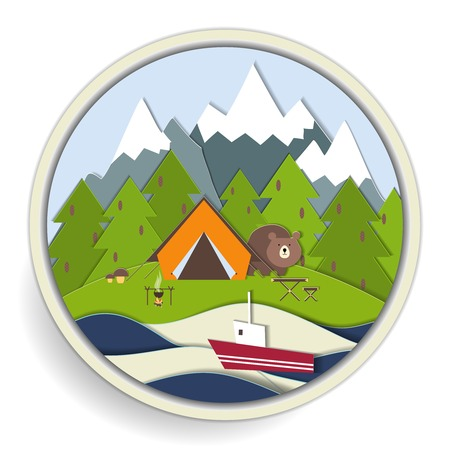 snowcapped mountain: Circular badge depicting camping and recreational activities  Illustration