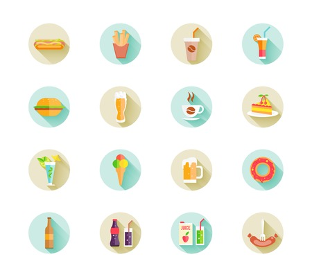 Set of colorful fast food icons on web buttons  Vector