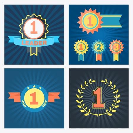 primer lugar: Primeros premios puestas del vector segunda y tercera con rosetas Cintas de banners y corona de flores con los números 1 y 2 de 3