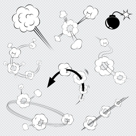 trail: Set of black and white vector cartoon comic book explosions with puffs of smoke