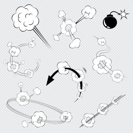 Set van zwart en wit vector cartoon comic book explosies met rookwolkjes Stock Illustratie