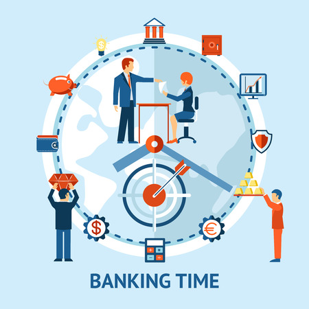 liabilities: time and money concept. People do business on clock background