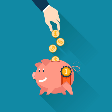 retirement savings: Hand of a businessman dropping gold coins into the slot of a piggy bank  Illustration