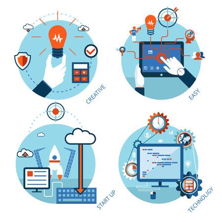 Eenvoudig beheer van technologische projecten. Beginnen, service processen en analytics Stock Illustratie