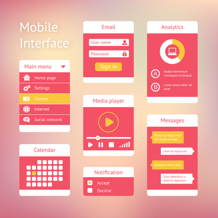user name: Interface elements for mobile applications. Panel lists player calendar and chat Illustration