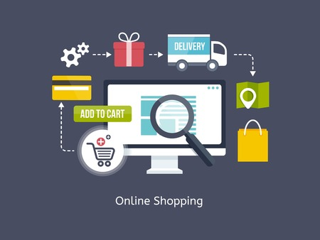 Online Shopping process infographic showing the choice of merchandise off the website   Vector
