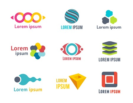 Business Icons Set. Emblems, signs or symbols Vector