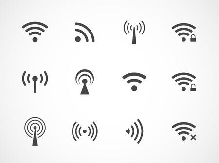 wifi access: Set di dodici diverse vettore wireless e wifi icone nere per l'accesso remoto e la comunicazione via onde radio Vettoriali