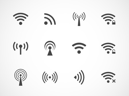 cordless phone: Set of twelve different black vector wireless and wifi icons for remote access and communication via radio waves