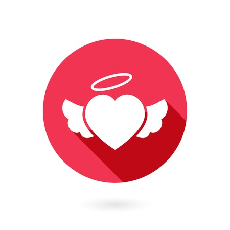 Romantic circular red winged heart icon with a long shadow and halo symbolising romance and love on Valentines Day  wedding  anniversary or engagement Vector