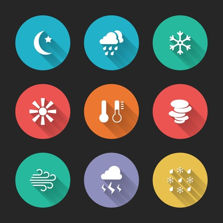Set of meteorological icons on colorful round web buttons  Vector