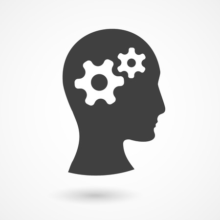 side profile: Vector silhouette of human head with gears. Thinking process illustration