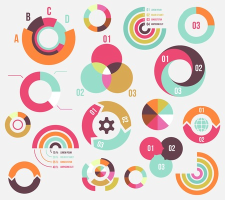 Circle charts and diagrams templates collection for business Vector
