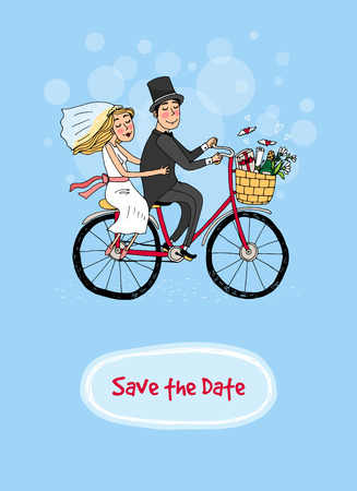 tandem bicycle: Bride and groom riding on a bicycle in a wedding gown and veil and top hat with the text - Save The Date - below in a card design for a wedding invitation  hand-drawn vector illustration Illustration