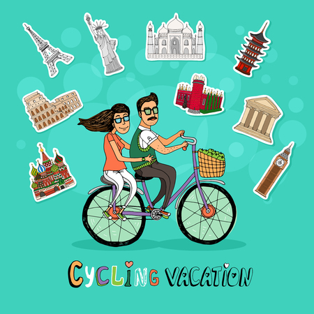 tandem: Couple on a Cycling Vacation riding a tandem bicycle together past a set of worldwide icons of famous tourist destinations with the text below  hand-drawn vector illustration Illustration