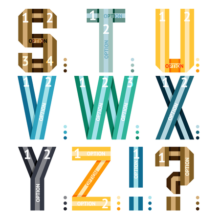 interrogative: Vector alphabet letters of ribbons and lines with number options for use in infographics being s-t-u-v-w-x-y-z  together with an exclamation and question mark  the third in a series of three sets