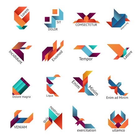 copyspace: Set of sixteen different brightly colored vector origami   or Japanese folded paper  business emblem templates with text copyspace in varied shapes isolated on white Illustration