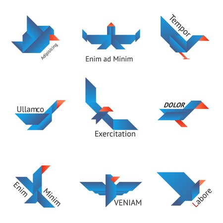 outspread: Set of origami birds in different shapes on white background