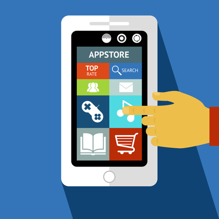 Smart phone or tablet with app icons and hand touching the screen design
