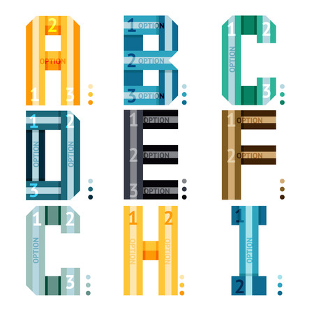 with sets of elements: Vector alphabet letters with stripes and number options for use as infographic deisgn elements a-b-c-d-e-f-g-h-i  a part collection in a series of three sets