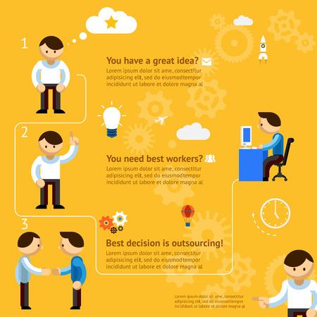 gespr�ch: Inforgaphics �ber Business Outsourcing auf die gelb-orange Hintergrund Illustration