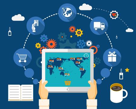 태블릿의 화면에 세계지도에 쇼핑. 월드 와이드 쇼핑 개념