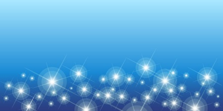 Shining stars on a blue background seamless horizontal pattern with many sparkling twinkling stars in different sizes  vector illustration