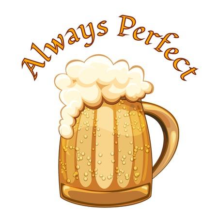 d�bord�: Affiche de bi�re toujours parfaite avec une tasse de style r�tro ou chope de bi�re d'or froid avec des gouttelettes de condensation et une t�te mousseuse d�bordant le verre sur un fond blanc avec le texte Illustration