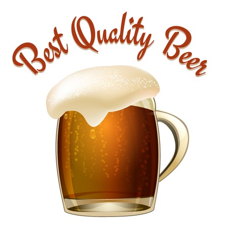 Best Quality Beer poster illustration with a glass tankard of dark beer or lager with a wonderful frothy head overflowing the glass and arched text above  vector illustration isolated on white Vector