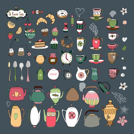 extensive: Large set of vector hand drawn teacups  teapots  samovar  jugs  cutlery  pastries  croissants  bagels and sweets on a dark grey background in square format
