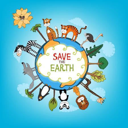 Excepto el concepto de la Tierra con una gran variedad de animales salvajes que rodean el perímetro de un globo o planeta con árboles verdes y frescas intercalados para la conservación de la naturaleza ilustración de mano Ilustración de vector