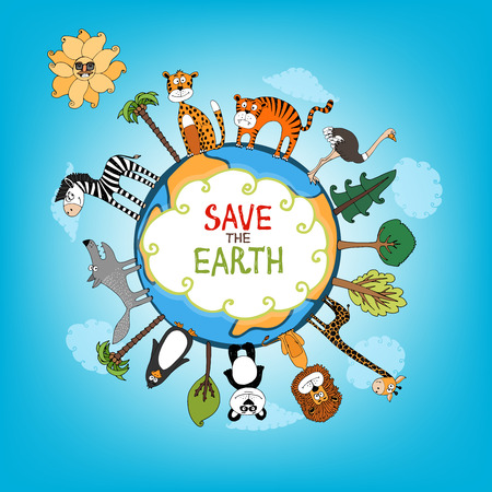 interspersed: Save The Earth concept with a variety of wild animals surrounding the perimeter of a globe or planet with interspersed fresh green trees for nature conservation   hand-drawn illustration Illustration