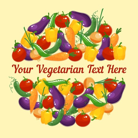 crop circle: Circular design for a vegetarian greeting card with colorful vivid fresh vegetables including sweet pepper  onion  peas  cucumber  carrot  tomato and eggplant   vector illustration with copyspace Illustration