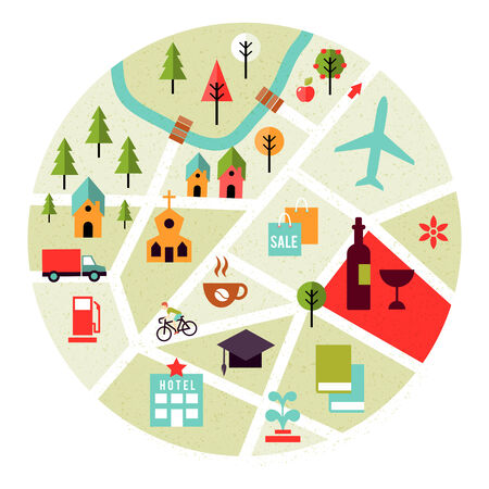 realty residence: Vector map with places icons. Trees, houses and roads