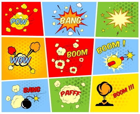 Vector comic boom or blast explosions and comic sound effects set Vector