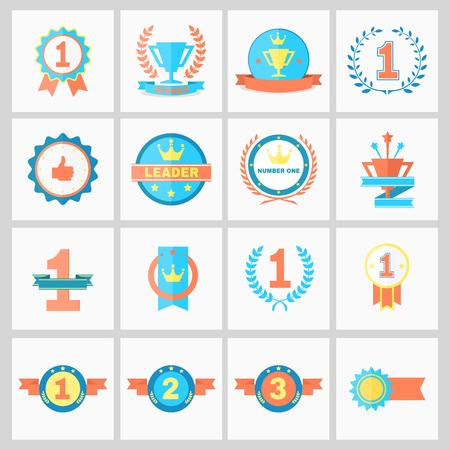 First Place Badges and Winner Ribbons vector illustration 向量圖像
