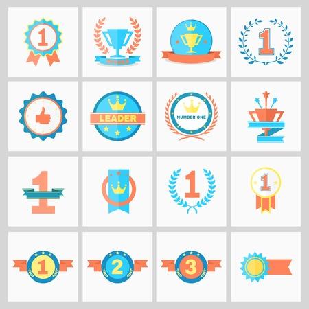 vítěz: První místo Odznaky a vítěz stuhy vektorové ilustrace