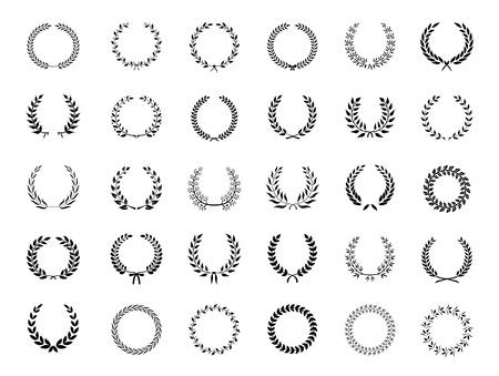 kiválóság: Nagy gyűjteménye harminc különböző körkörös fekete vektoros babérkoszorúk vagy circlets a heraldika ókorban díjat győzelmet és a kiválóság