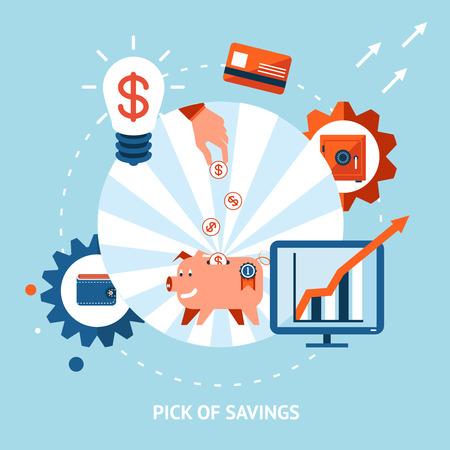 liabilities: Banking vector eps10 illustration. Pick of savings. Money falling in piggy bank