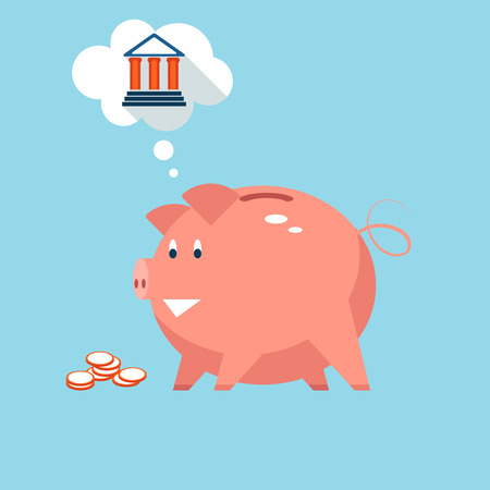 retirement savings: Conceptual vector illustration depicting banking piggy bank money into sound investments at the bank with a pink piggy thinking of a bank in a thought bubble Illustration